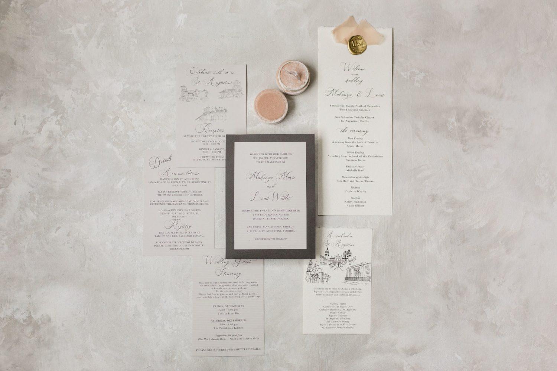 Grey hand drawn invitation suite for St Augustine Wedding