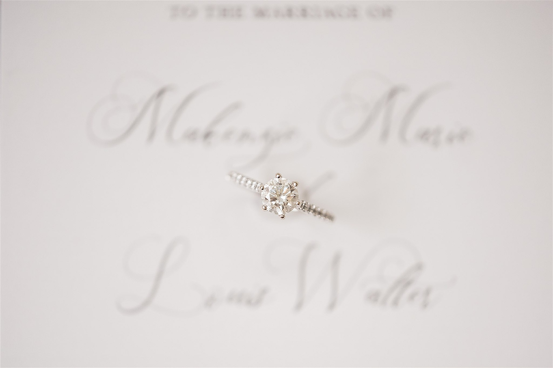 Detail photo of wedding ring on wedding invitation