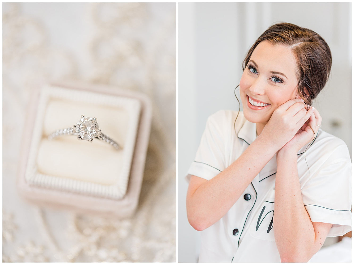 Bride getting ready by putting on earrings and close up of wedding ring