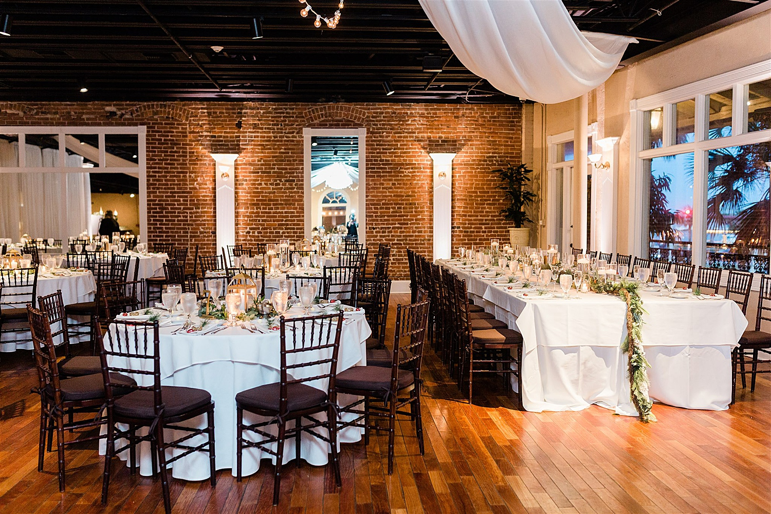 The White Room Wedding Venue set up for the perfect christmas reception