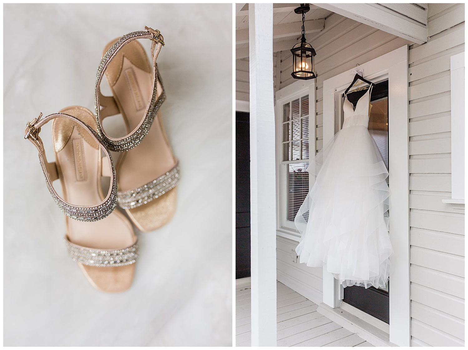 Gold jewel heels and white princess gown