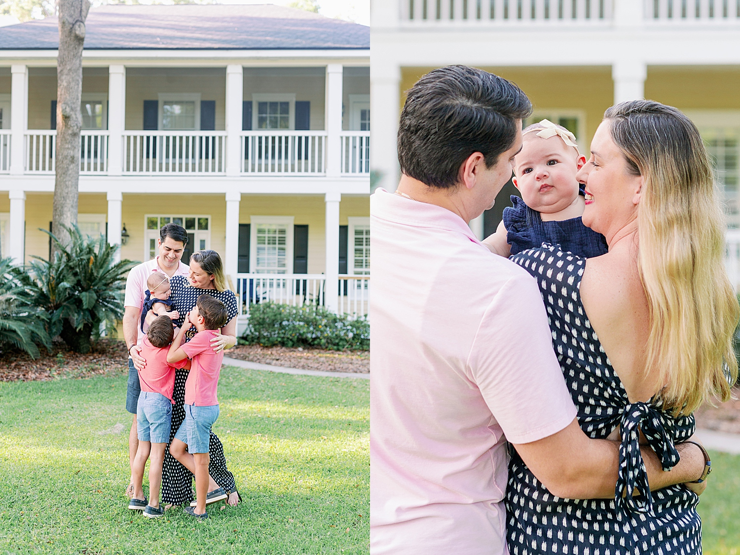 A family shares a warm embrace on the left of the photo while mom and dad smile at their baby girl on right