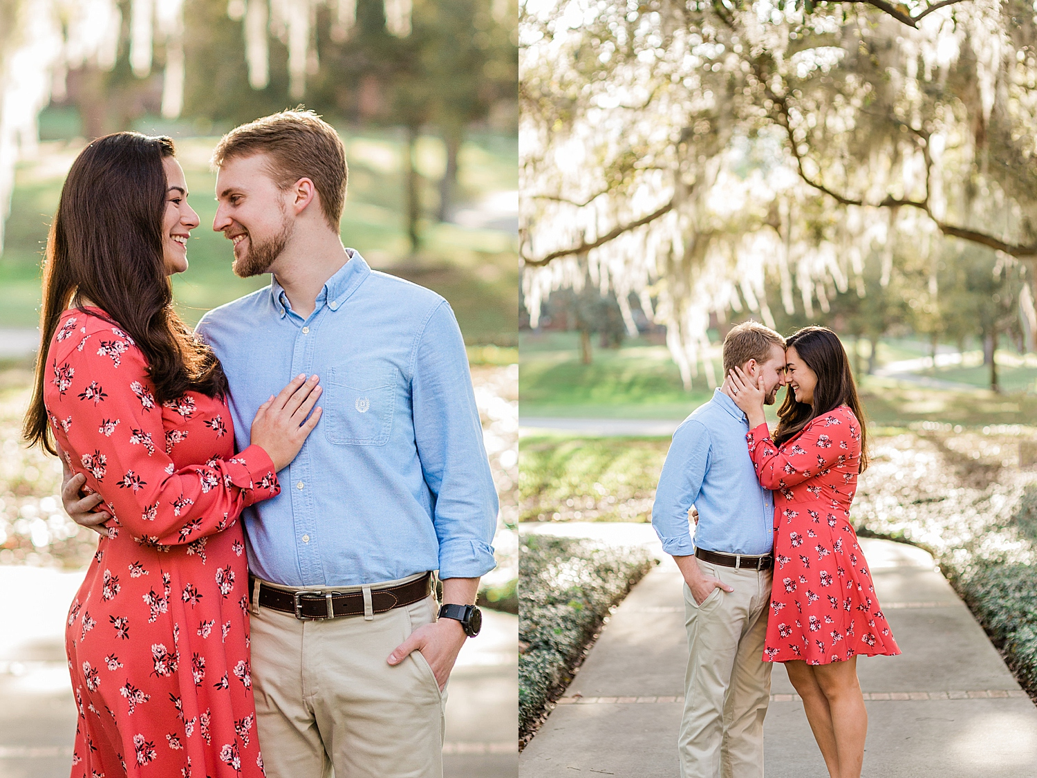 Couple embraces and smiles at each other