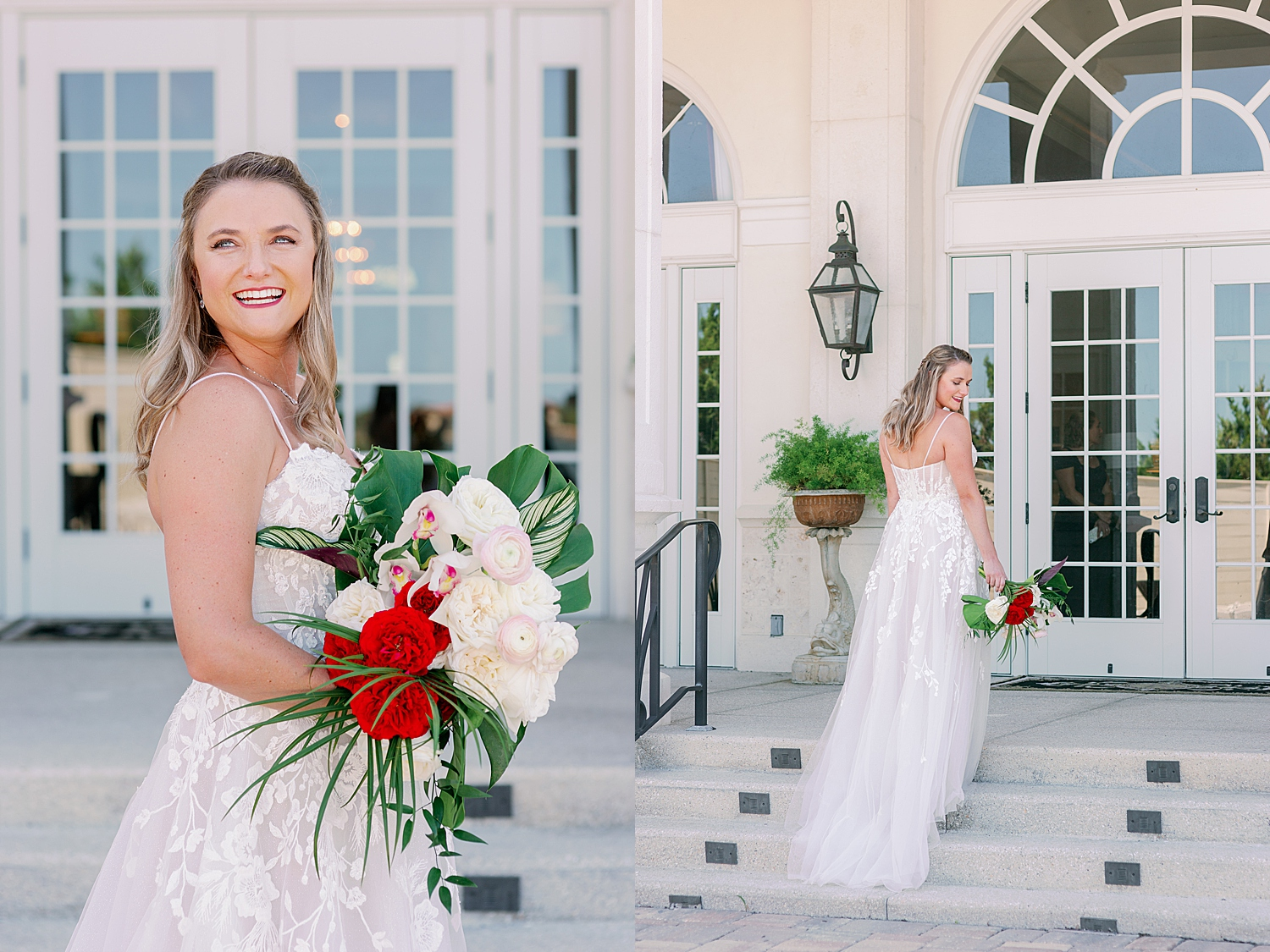 Laughing bridal portraits with tropical bouquet