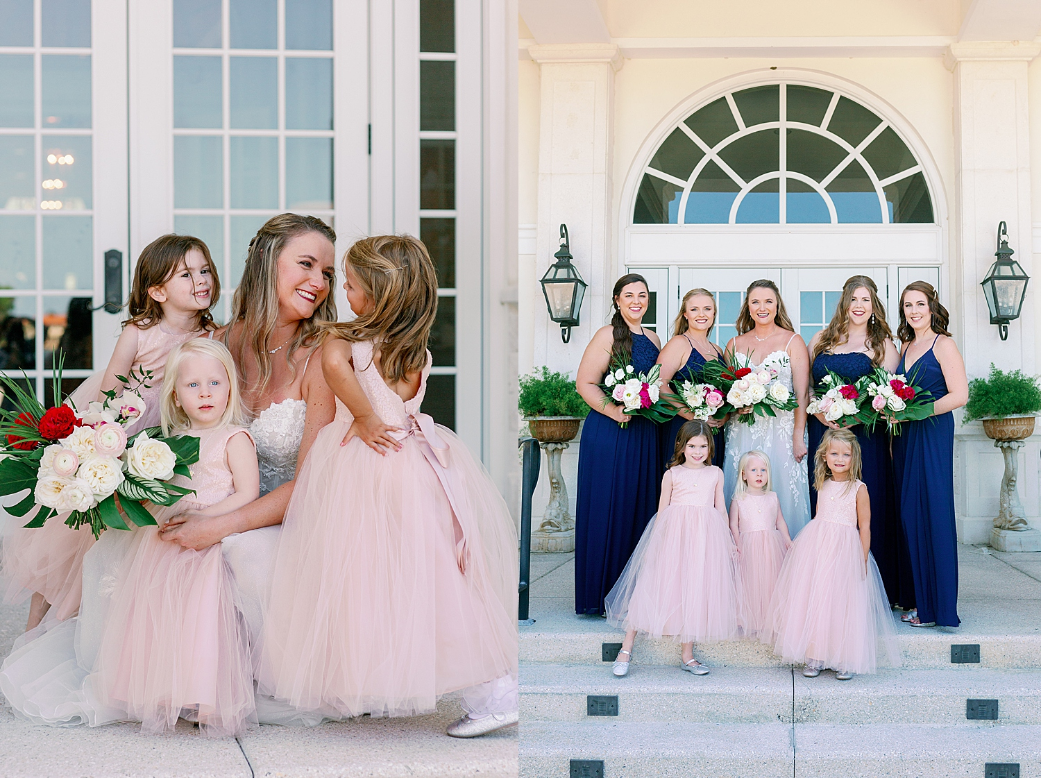 Bride with flowers girls in blush pink dresses