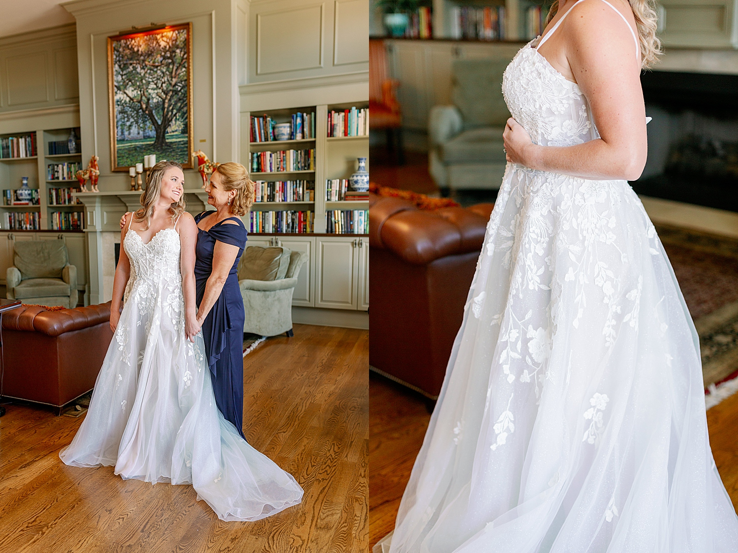 Bride with Mom getting ready for her wedding day