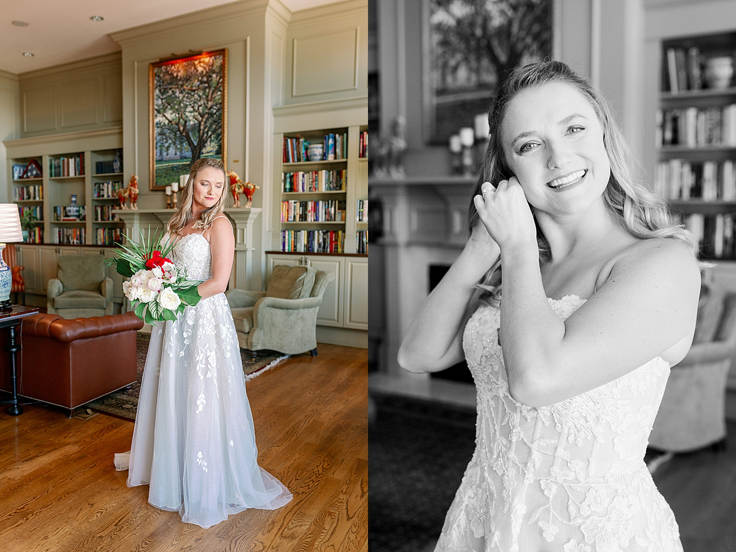 Bride putting on finishing touches at River House St.Augustine