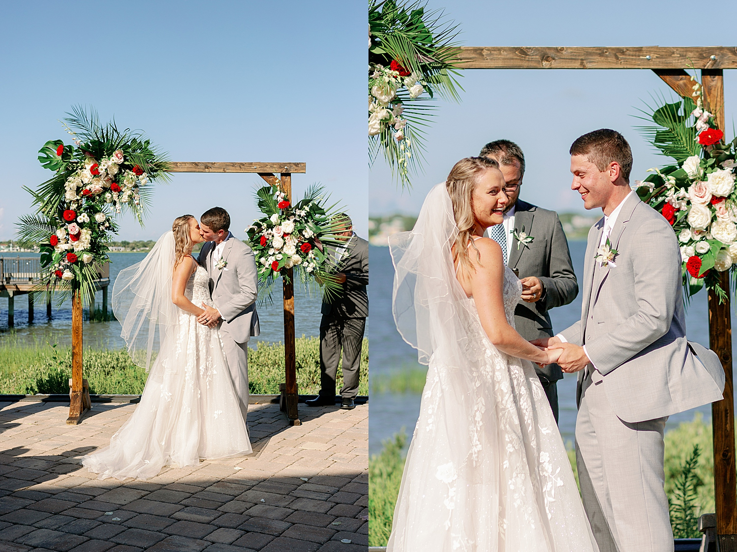 Bride and Groom's first kiss at wedding ceremony