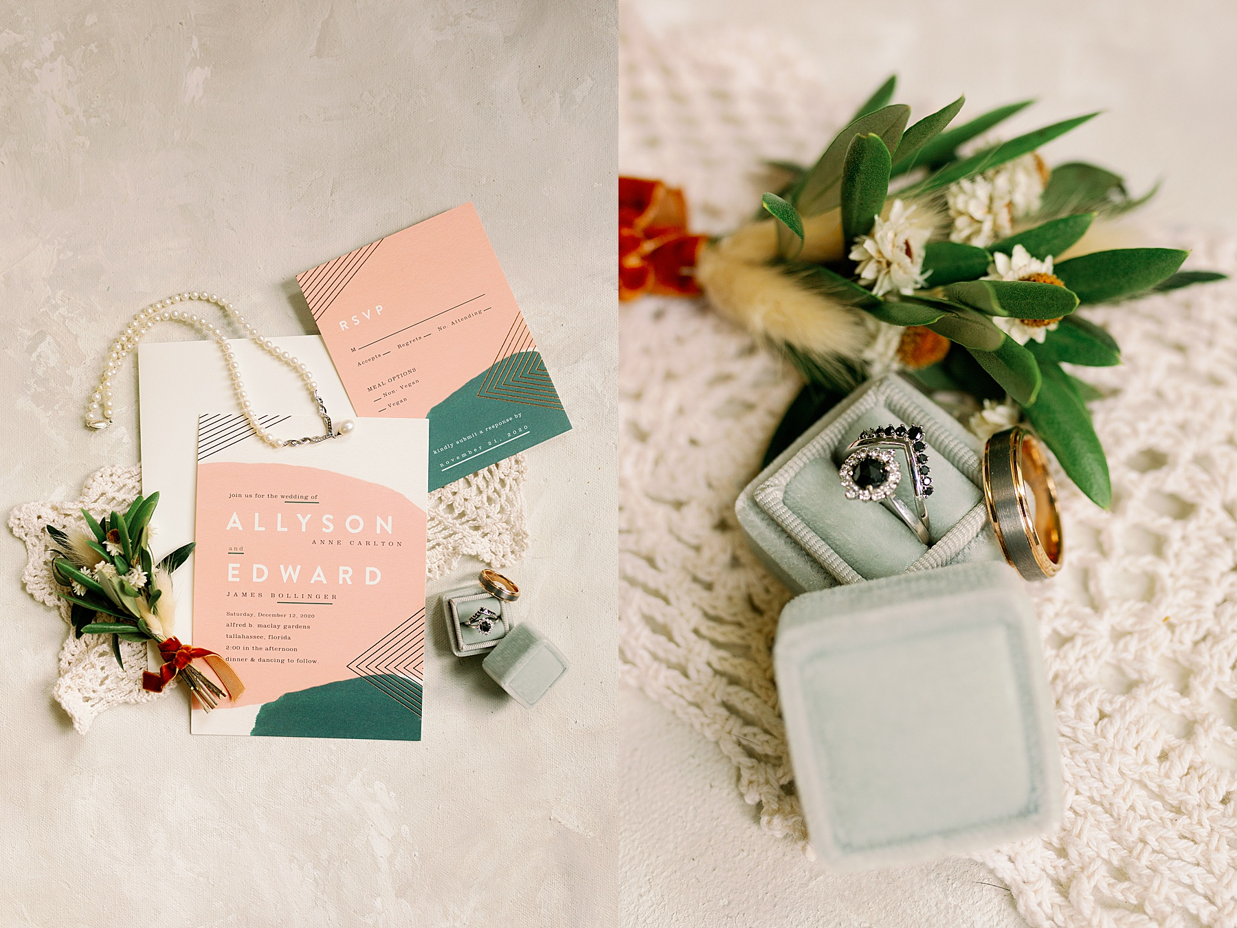 Wide photo of wedding invitation and close up of wedding rings