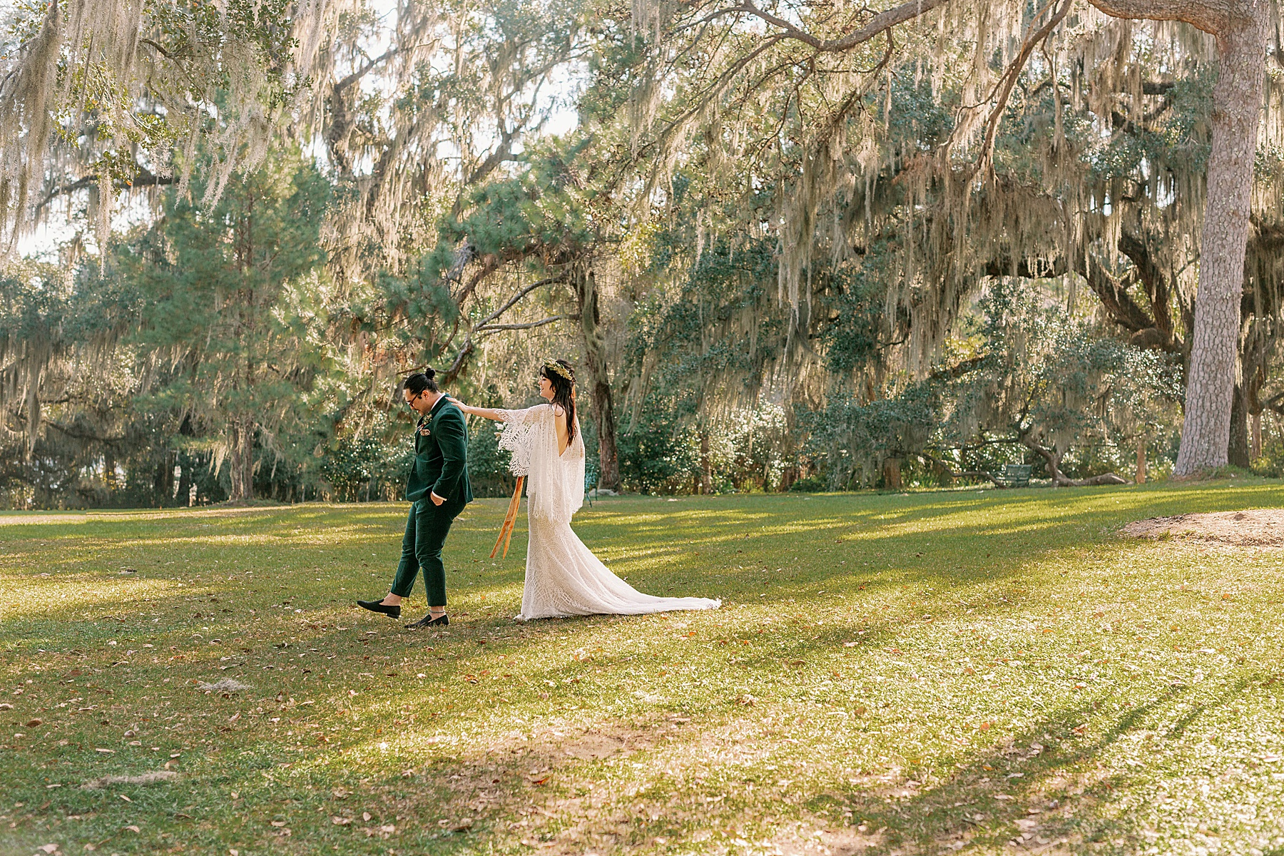Bride and Groom share a first look at Alfred B Maclay Gardens