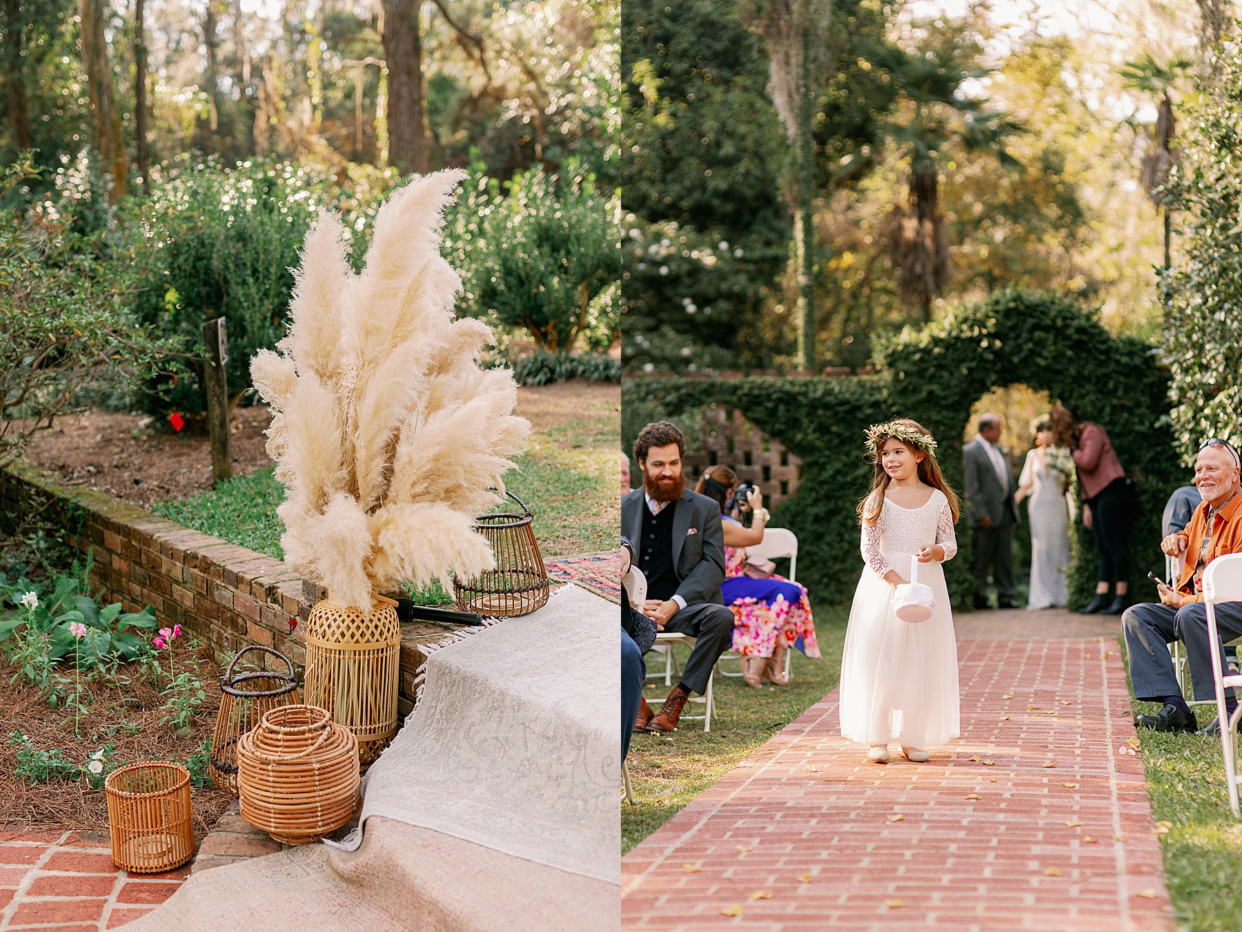 Details of pampas grass at wedding ceremony and flower girl with basket