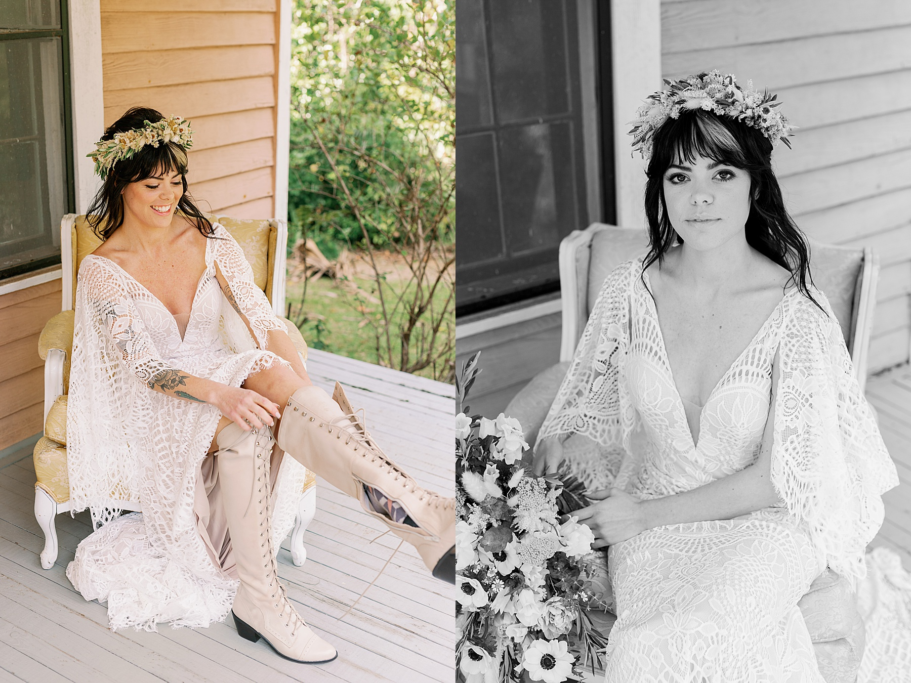 Bride in lace dress with flower crown putting on wedding boots