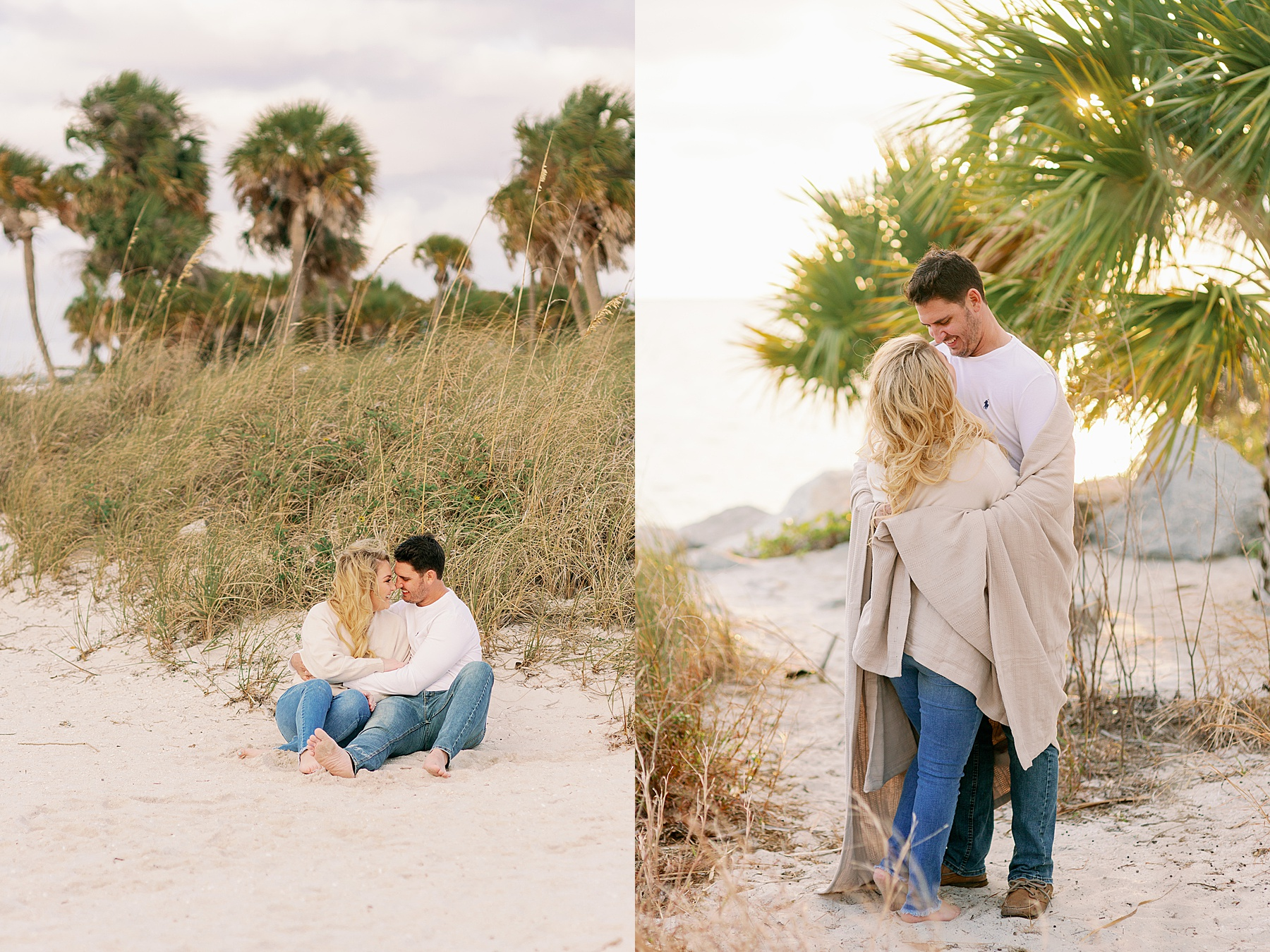 Couple snuggle up on the beach underneath palm trees