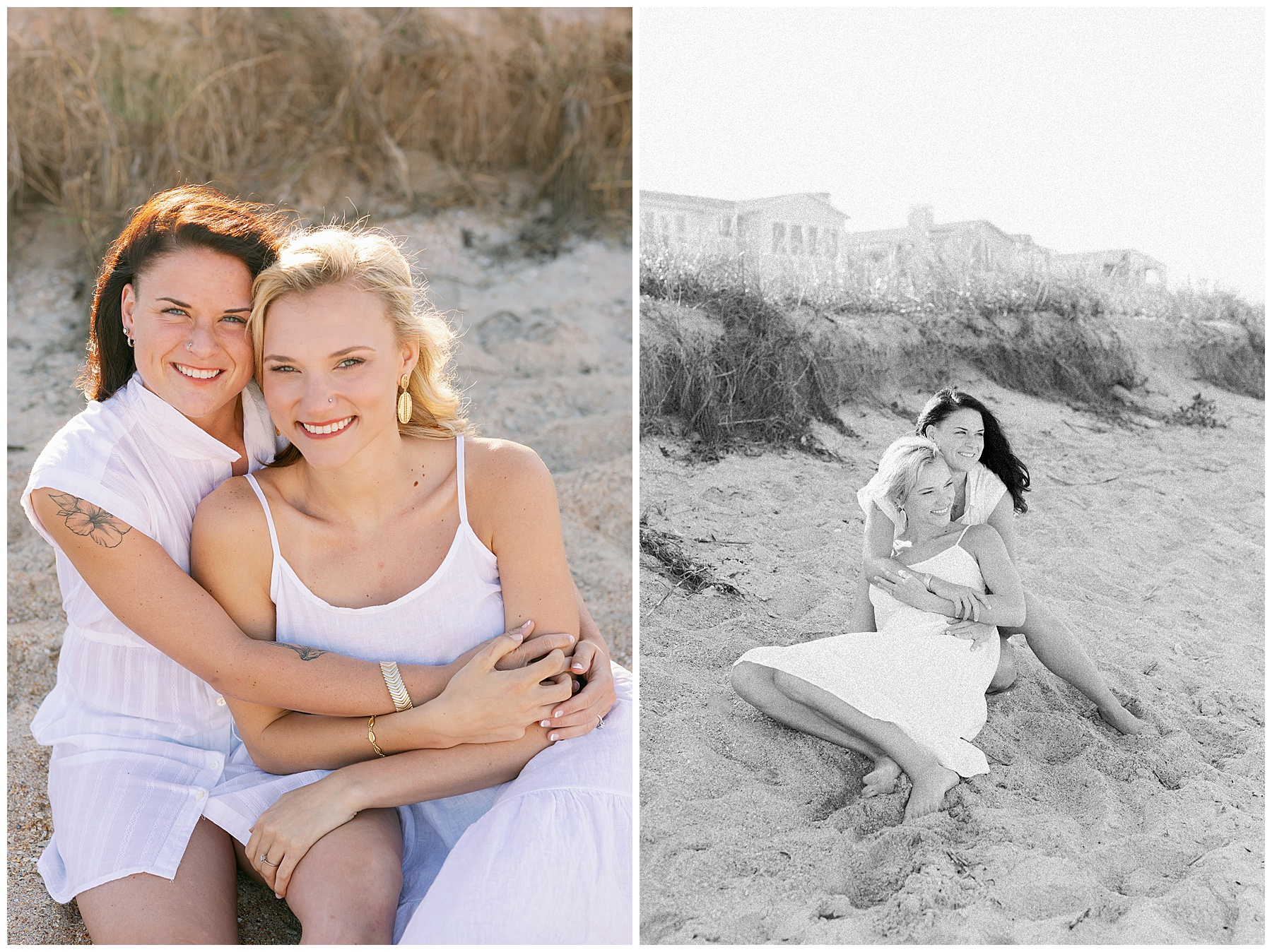 LGBTQ+ couple smile and embrace in the sand
