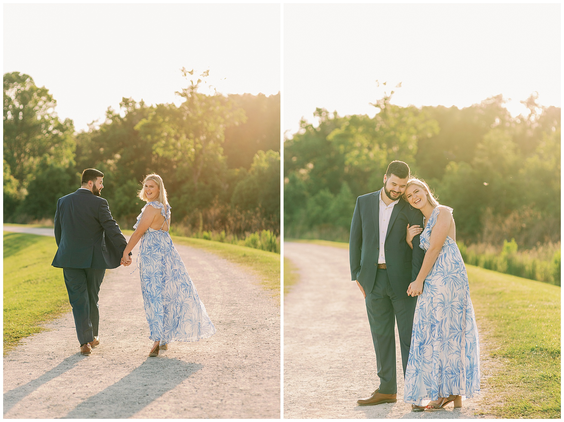 Girl in blue floral dress smiles while holding hands with her fiance in a suit